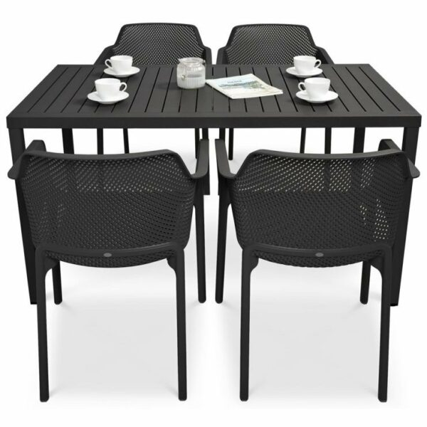 NARDI Net Cube-140 5-Piece Patio Set - Charcoal (Profile View)