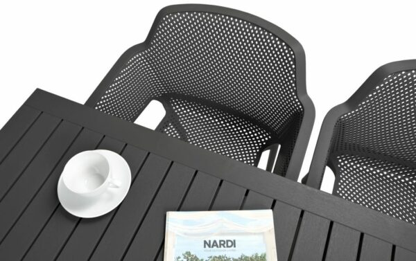 NARDI Net Cube-140 5-Piece Patio Set - Charcoal (Table Top & Chair Birds-eye View)