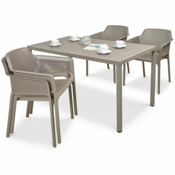 NARDI Net Cube-140 5-Piece Patio Set - Taupe (2 Chairs Stacked)