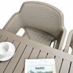 Net Cube-140 5-Piece Patio Set – Taupe (Table Top & Chair Birds-eye View)