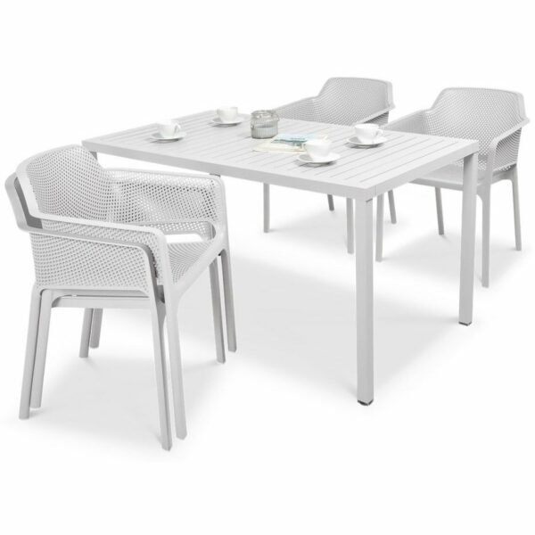 NARDI Net Cube-140 5-Piece Patio Set - White (2 Chairs Stacked)