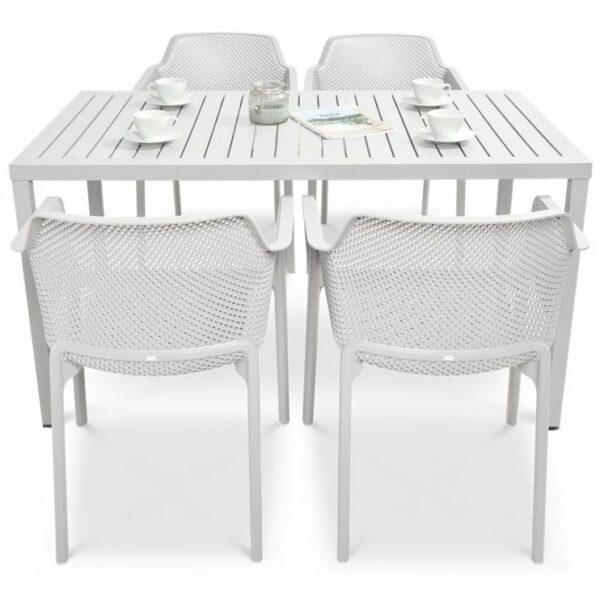 NARDI Net Cube-140 5-Piece Patio Set - White (Profile View)