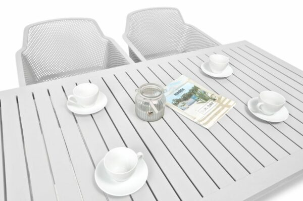 NARDI Net Cube-140 5-Piece Patio Set - White (Table Top & Chairs)