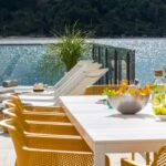 Rio ALU Net 10-Seater Outdoor Dining Set – White & Mustard (Zoomed)