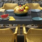Rio Alu Net 8-Seater Outdoor Dining Set – Charcoal Table & Mustard Chairs (Back of Chairs Texture)