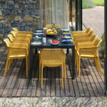 Rio Alu Net 8-Seater Outdoor Dining Set – Charcoal Table & Mustard Chairs (Head of Table)