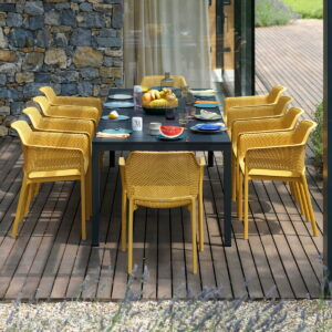 NARDI Rio Alu Net 8-Seater Outdoor Dining Set - Charcoal Table & Mustard Chairs (Head of Table)
