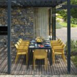 Rio Alu Net 8-Seater Outdoor Dining Set – Charcoal Table & Mustard Chairs (Head of the Table and Garden)