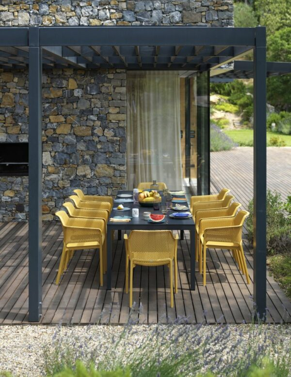NARDI Rio Alu Net 8-Seater Outdoor Dining Set - Charcoal Table & Mustard Chairs (Head of the Table and Garden)