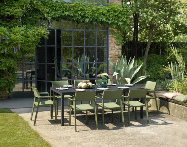 NARDI Rio Alu Trill 8-Seater Outdoor Dining Set - Charcoal Table & Olive Green Chairs