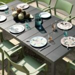 Rio Alu Trill 8-Seater Outdoor Dining Set – Charcoal Table & Olive Green Chairs (Gallery) (1)
