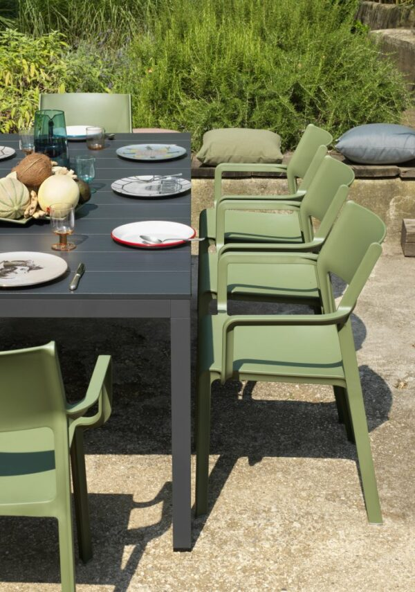 NARDI Rio Alu Trill 8-Seater Outdoor Dining Set - Charcoal Table & Olive Green Chairs (Gallery) (2)