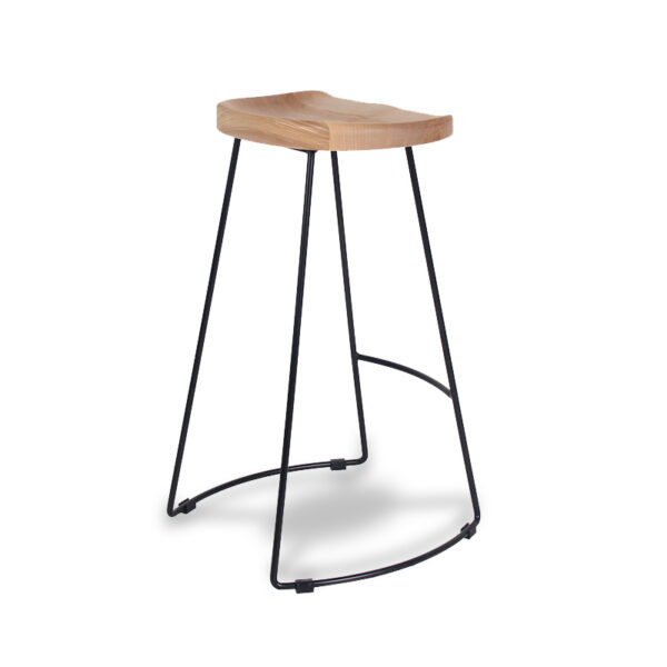 ByDezign Tractor Seat Wire Bar Stool - Natural Stain Ash