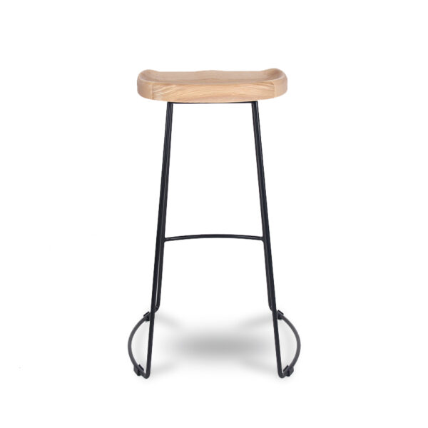 ByDezign Tractor Seat Wire Bar Stool - Natural Stain Ash (Back View)