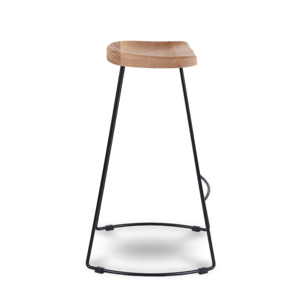 ByDezign Tractor Seat Wire Bar Stool - Natural Stain Ash (Profile View)