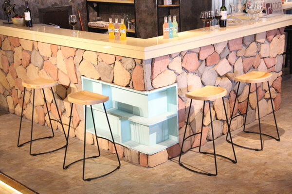ByDezign Tractor Seat Wire Bar Stools at Corner Bar