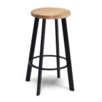 Vector Minimal Round Seat Stool – Black & Natural Ash