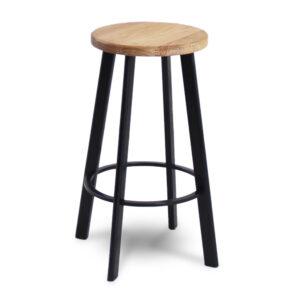 ByDezign Vector Minimal Round Seat Stool - Black & Natural Ash