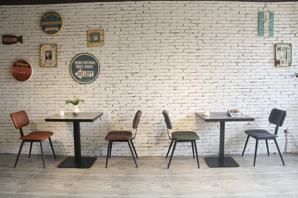 ByDezign Aviator Mid-Century Modern Dining Chairs Along Cafe Wall