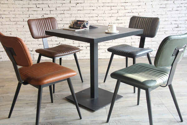ByDezign Aviator Mid-Century Modern Dining Chairs Around a Cafe Table