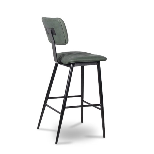 ByDezign Aviator Mid-Century Modern Tall Bar Stool - Green (Angle)