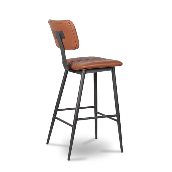 ByDezign Aviator Mid-Century Modern Tall Bar Stool - Tan (Angle)
