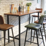 Aviator Mid-Century Modern Tall Bar Stools at Bar Leaner