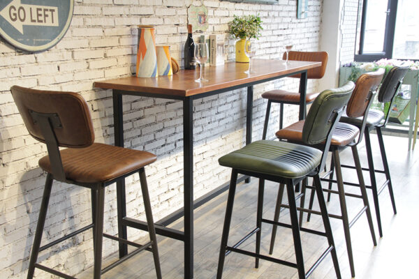 ByDezign Aviator Mid-Century Modern Tall Bar Stools at Bar Leaner