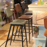 Aviator Mid-Century Modern Tall Bar Stools in Colours at Bar