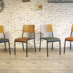 Mid-Century Modern Retro School Dining Chair Colour Range
