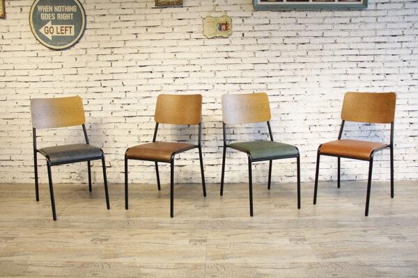 ByDezign Mid-Century Modern Retro School Dining Chair Colour Range