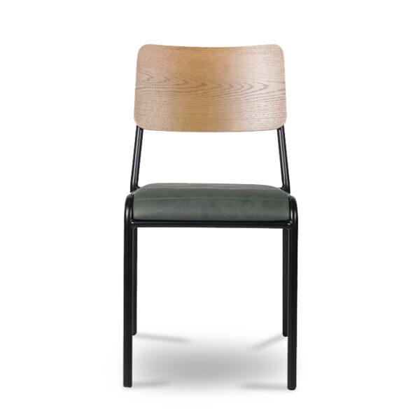 ByDezign Retro School Dining Chair - Green (Front)