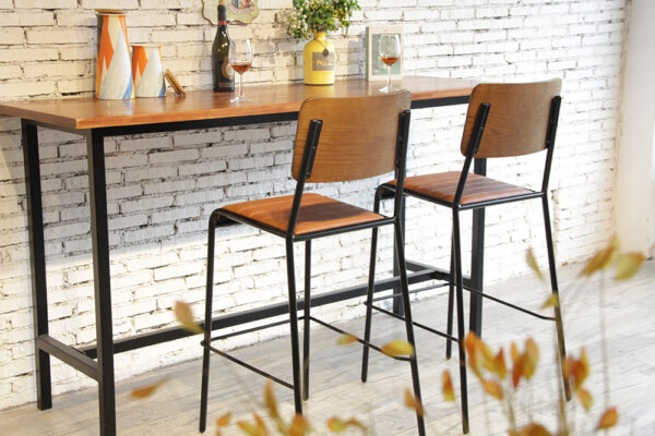 ByDezign Retro School Tall Bar Stools in Tan at Bar leaner