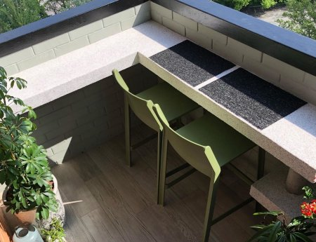 Outdoor Bar Stools - Trill Kitchen Counter Stools in Olive Green on Outside Deck
