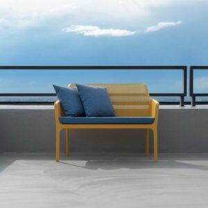 NARDI Net Bench 2-Seater - Mustardl & Denim Cushions