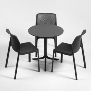 NARDI Bit Break HPL Compact 3-Seater Set - Charcoal (HPL Small Round Table & Bit Chairs in Charcoal)
