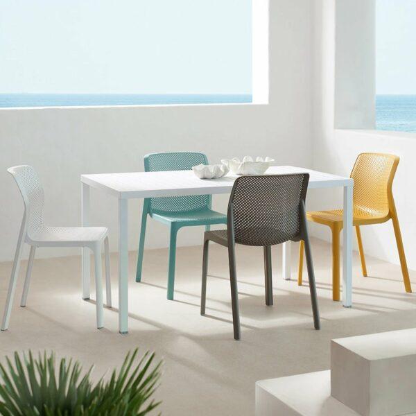 NARDI Cube 140 Bit 5-Piece Set - White & Muticoloured Chairs (White, Taupe, Spearmint & Mustard)