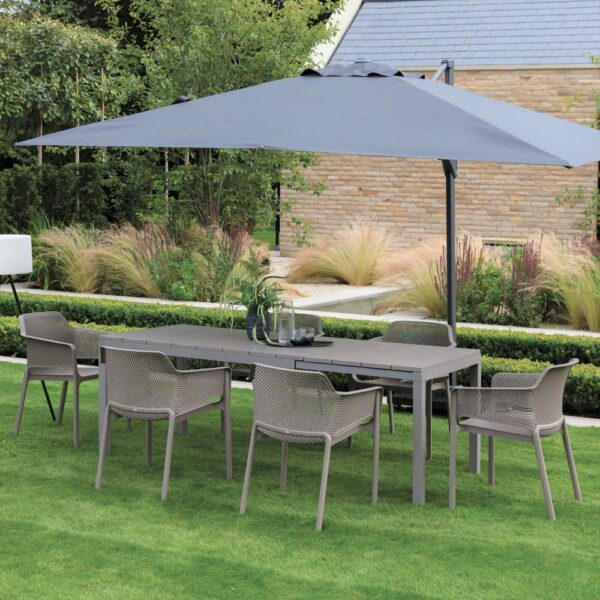 NARDI Net Rio Outdoor Extendable Dining Set (6-Seater) - Taupe