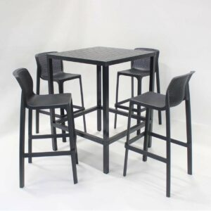 NARDI Net Cube 5-Piece Outdoor Bar Stools and Leaner Set - Charcoal