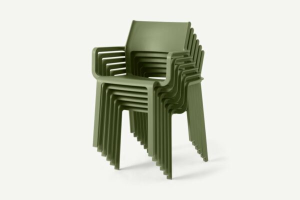NARDI Trill Armchairs in Olive Green Stacked 6 High