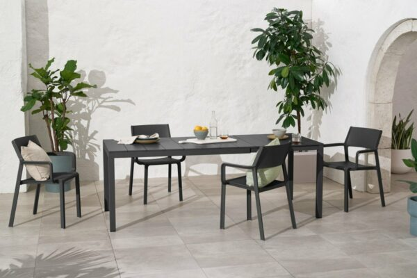 NARDI Trill Rio 140 ALU Outdoor Dining Set (6-Seater) - Charcoal