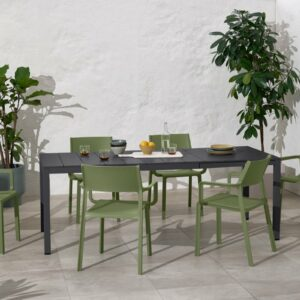 NARDI Trill Rio 140 ALU Outdoor Dining Set (6-Seater) - Charcoal Table & Olive Green Chairs