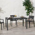 Trill Rio 140 ALU Outdoor Dining Set (6-Seater) in Charcoal (Table in Native 1.4m Length)