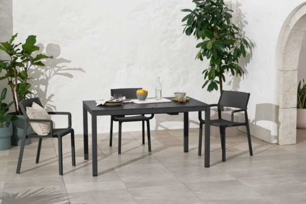 NARDI Trill Rio 140 ALU Outdoor Dining Set (6-Seater) in Charcoal (Table in Native 1.4m Length)