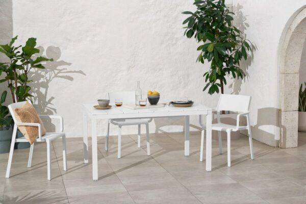 NARDI Trill Rio 140 ALU Outdoor Dining Set (6-Seater) in White (Table in Native 1.4m Length)